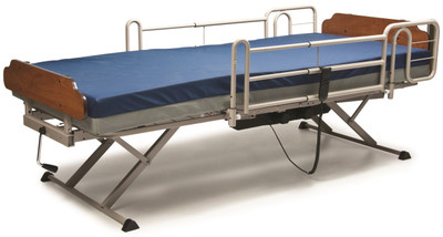Shown with full length bed rails and mattress