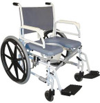 "Bariatric Shower Commode Wheelchair 24"" Wheels S990 by Tuffcare"