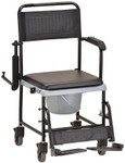 Drop Arm Transport Commode Chair w/ Wheels 8805 by NOVA