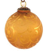 Brass Cap Light Amber Etched Kugel