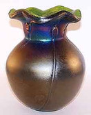 "Tiffany Style Art Glass Vase ""Poppies"" Black"