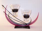 Shinto Balance Candle Holder  Jet Black / Pink Enamel