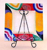 Decorate Glass Plates, Abstract FT  3pc Set.