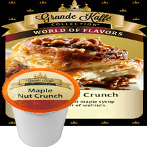 Grande Kaffe Maple Nut Crunch Coffee Single Cup. A taste of sweet maple syrup with a subtle hint of walnuts. Compatible with all single serve brewers, including Keurig® and Keurig® 2.0.
