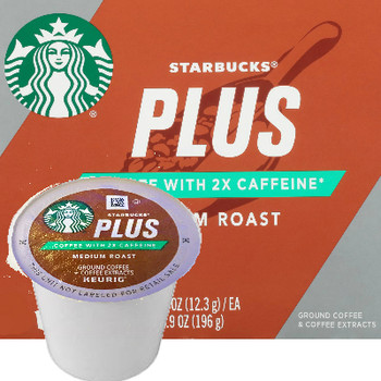Starbucks Plus 2X Caffeine Medium Roast Coffee K-Cup® Pod. Compatible with most or all single cup brewers including Keurig® and Keurig® 2.0
