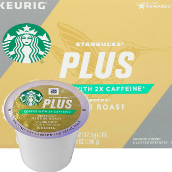 Starbucks Plus 2X Caffeine Blonde Roast Coffee K-Cup® Pod. Compatible with most or all single cup brewers including Keurig® and Keurig® 2.0