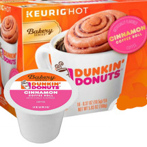 Dunkin Donuts® Cinnamon Coffee Roll Coffee  Keurig® K-Cup®. Compatible with most single serve brewers including Keurig and Keurig 2.0