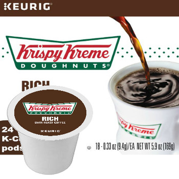 Krispy Kreme Doughnuts Rich Dark Roast Coffee K-Cup. A full-bodied blend of robust coffee perfectly roasted to satisfy your craving. Compatible with most single cup brewers including Keurig and Keurig 2.0.