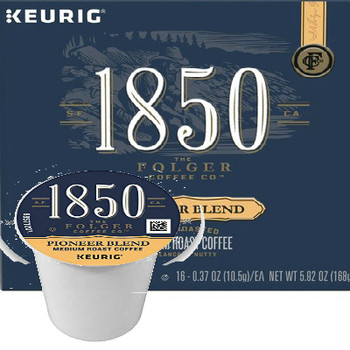 Folgers 1850 Coffee Pioneer Blend Coffee K-Cup Pod. 100% premium arabica coffee. Fire-roasted. Balanced + nutty. Seek your fortune with a bold, yet smooth blend of 100% arabica coffee with notes of roasted nut flavor. The day is yours - begin boldly. Embrace the Bold: 1850 is crafted for bold pursuits - for you, the modern-day trailblazers, who dare to discover new territory, mark new milestones, and forever seek the fortune ahead. Compatible with most single cup brewers including Keurig and Keurig 2.0.