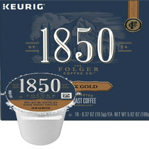 Folgers 1850 Coffee Black Gold Coffee K-Cup Pod. A smooth blend of 100 percent Arabica beans, 1850 Black Gold Dark Roast Coffee delivers notes of sweet dark cocoa. 1850 Black Gold Coffee is made with fire-roasted, steel-cut coffee beans using time-honored roasting and grinding techniques for a timeless taste. Its unique complexity, body, and strength are crafted for modern-day trailblazers who dare to discover new territory. Compatible with most single cup brewers including Keurig and Keurig 2.0.