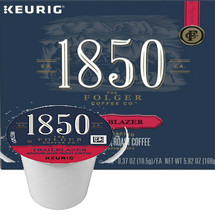 Folgers 1850 Coffee Trailblazer Coffee K-Cup Pod. A smooth blend of 100 percent Arabica beans, 1850 Trailblazer Medium-Dark Roast Coffee delivers roasted nut and caramelized flavor notes. 1850 Trailblazer Coffee is made with fire-roasted, steel-cut coffee beans using time-honored roasting and grinding techniques for a timeless taste. Its unique complexity, body, and strength produce a satisfying and balanced coffee to help you blaze your own trails. Compatible with most single cup brewers including Keurig and Keurig 2.0.