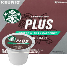 Starbucks Plus 2X Caffeine Dark Roast Coffee K-Cup® Pod. Compatible with most or all single cup brewers including Keurig® and Keurig® 2.0