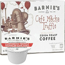 Barnie's Coffee Kitchen Cafe Mocha Truffle Coffee Single Cup. This creamy, melty chocolate flavor and rich aroma combine with our specialty Central and South American blend to stir up a sweet coffee confection. Pair with decadent brew your favorite morning pastry, afternoon snack or after dinner treat. Compatible with all single serve brewers, including Keurig® and Keurig® 2.0.