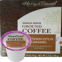 Harry & David Butterscotch Caramel Coffee Single Cup. Compatible with all single serve brewers, including Keurig® and Keurig® 2.0.