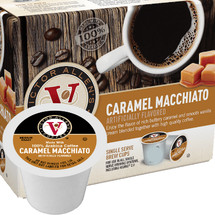 Victor Allen's Coffee Caramel Macchiato Coffee Single Cup. Enjoy the flavor of rich buttery caramel and smooth vanilla cream blended together with a high quality coffee. Compatible with most single cup brewers including Keurig and Keurig 2.0.