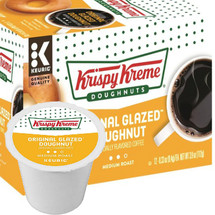Krispy Kreme Doughnuts Original Glazed Doughnut Coffee K-Cup® Pod. Nothing goes better with a delicious treat than a fresh, hot cup of coffee. Enjoy it with Krispy Kreme Original Glazed Doughnut coffee. You love the goodness any time of the day with the medium roast K-cup style coffee at home. Compatible with most single cup brewers including Keurig and Keurig 2.0.