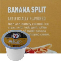 Victor Allen's Coffee Banana Split Coffee Single Cup. Rich and buttery caramel ice cream with indulgent toffee and layers of sweet banana with a hint of whipped cream. Compatible with most single cup brewers including Keurig and Keurig 2.0.