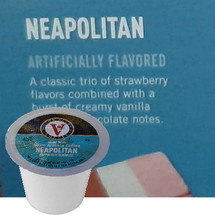 Victor Allen's Coffee Neapolitan Coffee Single Cup. A classic trio of strawberry flavors combined with a burst of creamy vanilla and rich chocolate notes. Compatible with most single cup brewers including Keurig and Keurig 2.0.