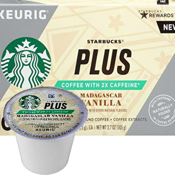 Starbucks Plus 2X Caffeine Madagascar Vanilla Coffee K-Cup® Pod. We combined our Veranda Blend with Madagascar vanilla and coffee extracts. Compatible with most or all single cup brewers including Keurig® and Keurig® 2.0