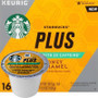 Starbucks Plus 2X Caffeine Honey Caramel Coffee K-Cup® Pod. We combined our Veranda Blend with honey caramel flavor and coffee extracts. Compatible with most or all single cup brewers including Keurig® and Keurig® 2.0