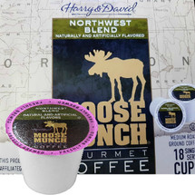 Harry & David Moose Munch Northwest Blend Coffee Single Cup. Compatible with all single serve brewers, including Keurig® and Keurig® 2.0.