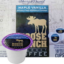 Harry & David Moose Munch Maple Vanilla Coffee Single Cup. Compatible with all single serve brewers, including Keurig® and Keurig® 2.0.