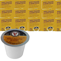 Victor Allen's Coffee Honey Roasted Almond Coffee Single Cup. Notes of sweet honey nectar are combined with indulgent nutty almond flavors. Compatible with most single cup brewers including Keurig and Keurig 2.0.