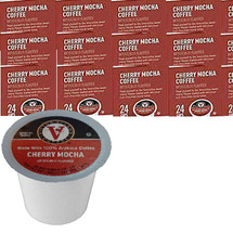 Victor Allen's Coffee Cherry Mocha Coffee Single Cup. Treat yourself to the irresistible sweet cherry flavors loaded with delicious rich chocolate cocoa notes. Compatible with most single cup brewers including Keurig and Keurig 2.0.