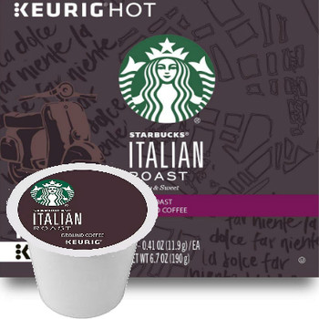 Starbucks Italian Roast Coffee K-Cup® Pod. Intense with rich, deep flavor and a roasty sweetmess with tasting notes of dark chocolate & toasted marshmallow. Compatible with most or all single cup brewers including Keurig® and Keurig® 2.0