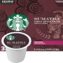 Starbucks Sumatra Coffee K-Cup® Pod. Full-bodied with a smooth mouthfeel and lingering herbal flavors. Amazing with savory foods. Tasting notes of Earthy & Herbal. Compatible with most or all single cup brewers including Keurig® and Keurig® 2.0