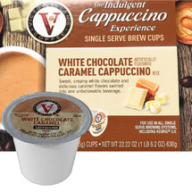 Victor Allen's Coffee White Chocolate Caramel Cappuccino Mix Single Cup. Sweet, creamy white chocolate and delicious caramel flavors swirled into one unbelievable beverage, Compatible with most single cup brewers including Keurig and Keurig 2.0.
