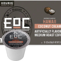 EOC Eight O'Clock Hawaii Coconut Cream Coffee K-Cup® Pod. Coconut and cream flavors. Compatible with most or all single cup brewers including Keurig® and Keurig® 2.0