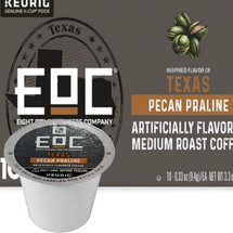 EOC Eight O'Clock Texas Pecan Praline Coffee K-Cup® Pod. Buttery Pecan Flavor. Compatible with most or all single cup brewers including Keurig® and Keurig® 2.0