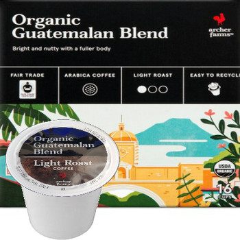Archer Farms Organic Guatemalan Blend Coffee K-Cup® Pod (Discontinued). Bright and nutty with a fuller body. Compatible with all single cup brewers, including Keurig and Keurig 2.0.
