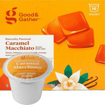 Good & Gather Caramel Macchiato Coffee Single Cup. Sweet, buttery with creamy notes and hints of vanilla. Compatible with all single cup brewers, including Keurig and Keurig 2.0.