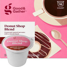 Good & Gather Donut Shop Blend Coffee Single Cup. Cocoa and roasted nut notes with a smooth finish. Compatible with all single cup brewers, including Keurig and Keurig 2.0.