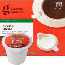Good & Gather House Blend DECAF Coffee Single Cup. Sweet caramel with milk chocolate notes and a well-rounded body. Compatible with all single cup brewers, including Keurig and Keurig 2.0.