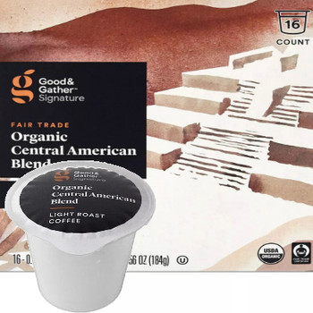 Good & Gather Signature Organic Central American Blend Coffee Single Cup. Well-balanced with notes of chocolate and fruit. Compatible with all single cup brewers, including Keurig and Keurig 2.0.