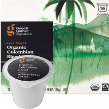 Good & Gather Signature Organic Colombian Blend Coffee Single Cup. Notes of tart fruit and bittersweet dark cocoa lend a robust flavor profile. Compatible with all single cup brewers, including Keurig and Keurig 2.0.