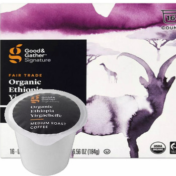Good & Gather Signature Organic Ethiopian Yirgacheffe Coffee Single Cup. Fruity, citric, floral and lemon notes for a tea-like flavor. Compatible with all single cup brewers, including Keurig and Keurig 2.0.