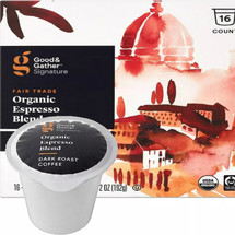 Good & Gather Signature Organic Expresso Blend Coffee Single Cup. Heavy, syrupy body with roasty yet floral top notes and brown sugar flavor for a rich taste. Compatible with all single cup brewers, including Keurig and Keurig 2.0.