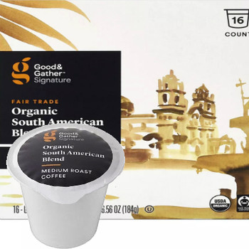 Good & Gather Signature Organic South American Coffee Single Cup. Well-balanced with citrus notes and a sweet finish. Compatible with all single cup brewers, including Keurig and Keurig 2.0.