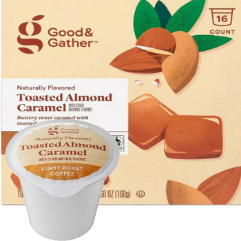 Good & Gather Toasted Almond Caramel Coffee Single Cup. Buttery sweet caramel with toasted almond notes. Compatible with all single cup brewers, including Keurig and Keurig 2.0.