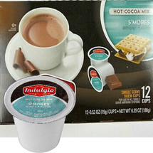 Indulgio Smores Hot Chocolate Single Cup. Compatible with all single serve brewers, including Keurig® and Keurig® 2.0.