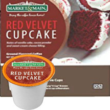 Market & Main Red Velvet Cupcake Coffee Single Cup. Notes of vanilla cake, cocoa powder and sweet cream cheese filling. Compatible with all single serve brewers, including Keurig® and Keurig® 2.0.