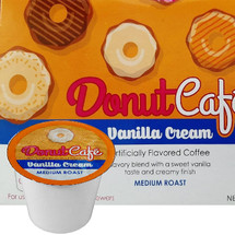 Copper Moon Donut Cafe Vanilla Cream Coffee Single Cup. Savory blend with a sweet vanilla taste and creamy finish. Compatible with all single serve brewers, including Keurig® and Keurig® 2.0.