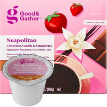 Good & Gather Neapolitan Coffee Single Cup. Warm vanilla flavor with sweet strawberry and chocolate notes. Compatible with all single cup brewers, including Keurig and Keurig 2.0.