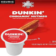 Dunkin' Cinnamon Nutmeg Coffee  Keurig® K-Cup®. Delightfully flavored with brown sugar, nutmeg, and cinnamon. This fall favorite is as delicious as it is aromatic. Compatible with most single serve brewers including Keurig and Keurig 2.0