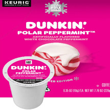 Dunkin' Polar Peppermint Coffee  Keurig® K-Cup®. White chocolate and peppermint flavors. Compatible with most single serve brewers including Keurig and Keurig 2.0