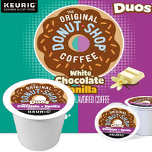 The Original Donut Shop Duos White Chocolate + Vanilla Coffee K-Cup. White Chocolate + Vanilla A mouthwatering mix filled with the familiar flavors of creamy white chocolate and vibrant vanilla. Compatible with most single cup brewers including Keurig and Keurig 2.0.